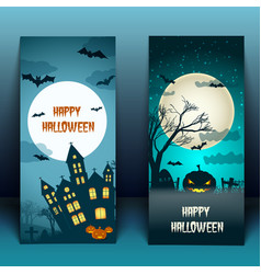 Halloween night banners with moon vector
