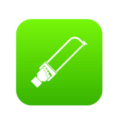 hand holding spatula tool icon digital green vector image