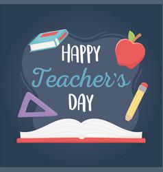 Happy teachers day school book apple ruler and vector