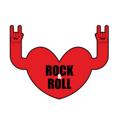 Heart rock logo rock and roll hand musical emblem vector