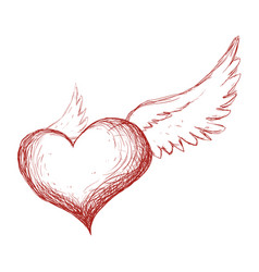 Heart with wings hand draw vector