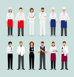 Hotel restaurant male and female team in uniform vector