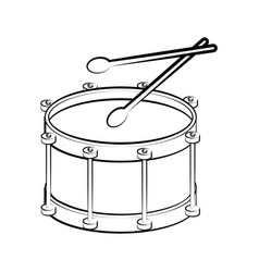 Isolated drum outline musical instrument vector