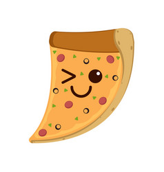 isolated happy slice of pizza emote vector image