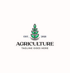 leaf agriculture logo template isolated in white vector image