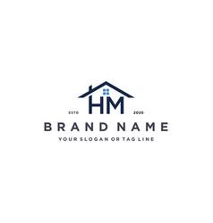 Letter hm home logo design vector