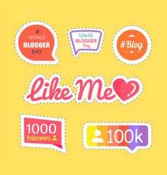 like me and followers information set vector image
