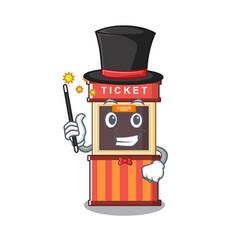 Magician ticket booth in character door vector