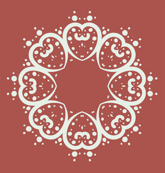 mandala of heart shapes with dots vector image
