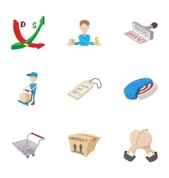 Marketing store icons set cartoon style vector