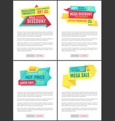 Mega discount promotion set vector