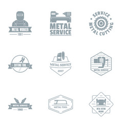 Metalist logo set simple style vector