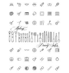 Minimalist icons cosmetics tools line art style vector
