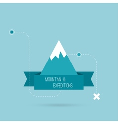 Mountains with ribbon vector