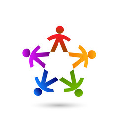 Multi-colored group of people teamwork icon vector
