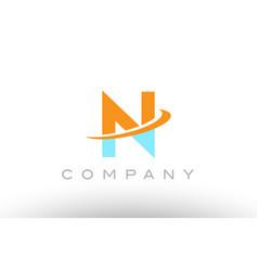 N orange blue logo icon alphabet design vector