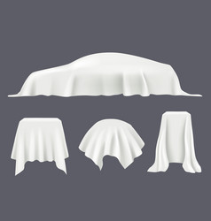 Object covered silk tablecloths satin textile vector