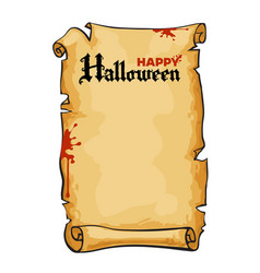 Old paper scroll text happy halloween in gothic vector