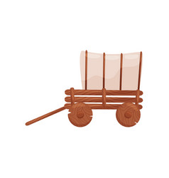 old wooden cart with tent farm wagon vehicle for vector image