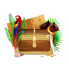 Old wooden pirate chest realistic composition vector