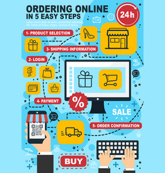 online shopping and order linear vector image