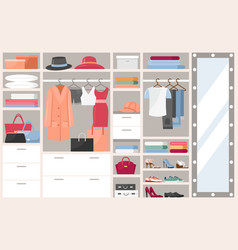 open wardrobe with clothes vector image