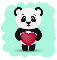 panda with a red heart in his paws in the style vector image