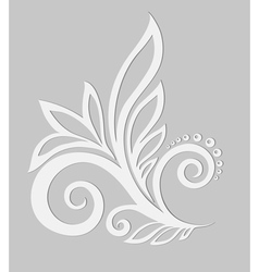 Paper floral design element on a gray background vector