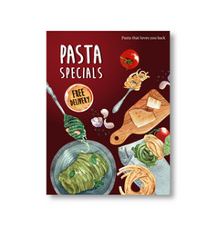 Pasta poster design with cheese watercolor vector