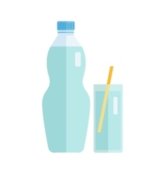 Plastic bottle with water or beverage vector