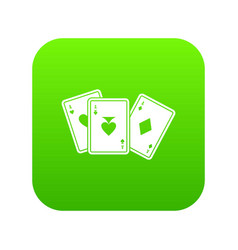 playing cards icon digital green vector image