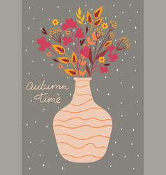 Postcard with an autumn bouquet in a vase vector