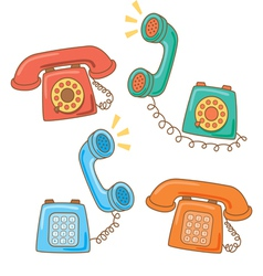 retro telephone cartoon vector image