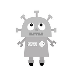 Robot looking up screw nose clock heart diagram vector