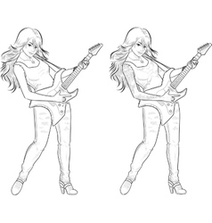 Rock star guitarist girl lineart vector