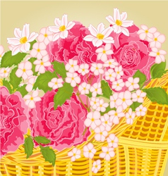 Roses and small flowers floral background vector image