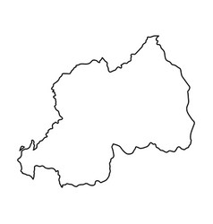 rwanda map of black contour curves on white vector image