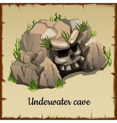 Scary underwater cave with the skull and grass vector