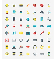School and education icons set in flat design vector