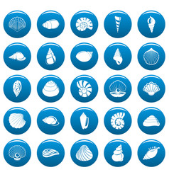 sea shell icons set vetor blue vector image