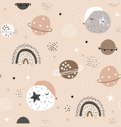 seamless childish pattern with planets in sleeping vector image
