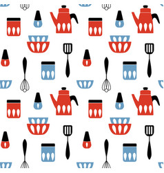 Seamless pattern with kitchen utensil mid century vector