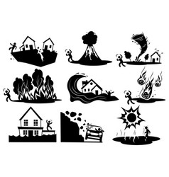 Set natural disasters collection silhouettes vector