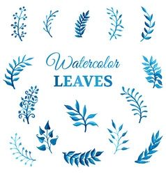Set of watercolour leaves vector