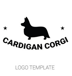 Sign template with welsh corgi standing in profile vector