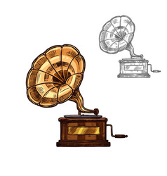 sketch gramophone retro music player vector image