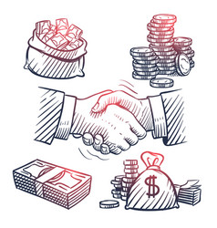 sketch hand shaking doodle dollars packs money vector image