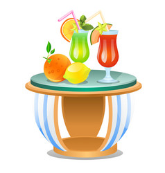 small table with set fresh fruit drinks vector image