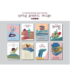 Spring set universal floral cards or posters vector