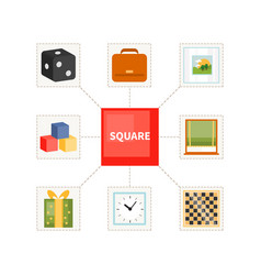 Square objects for children vector